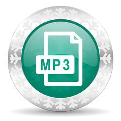 mp3 file green icon, christmas button
