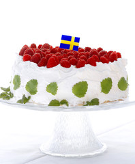 Raspberry cake with swedish flag