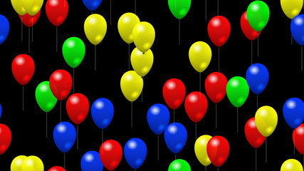 Party balloons seamless loop video with alpha matte