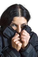 Woman feeling cold.