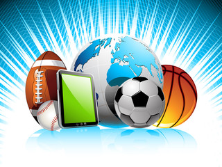 Sports concept background with mobile phone