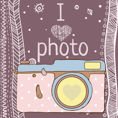 Vector hand drawn photo camera with text