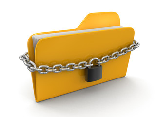 folder and chain (clipping path included)