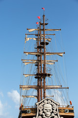Masts and sails of huge sailing boat