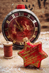 clock and toys in vintage style