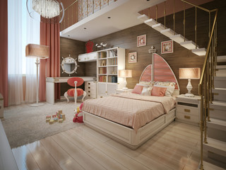 Girls bedroom in neoclassical style