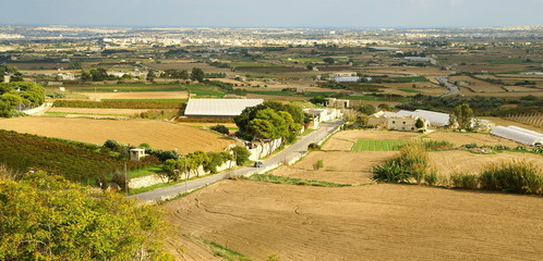 Autumn maltese landscape  ,village with cultivated fields.
