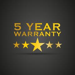 Gold five year warranty