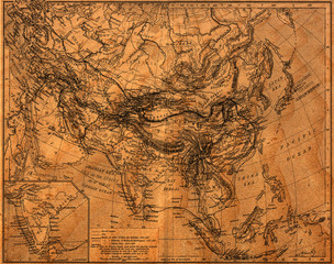 Old looking vintage map of asia illustration
