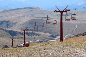 Ski lift in summer
