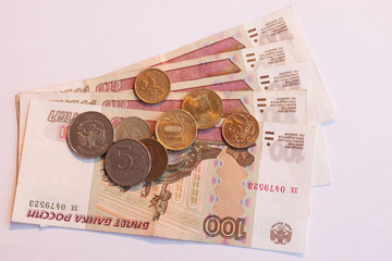 Russian money in the coins and in the bills