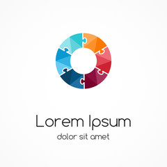Circle logo template. Abstract puzzle sign.