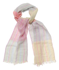 Pink scarf on white background