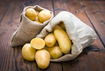 Organic potatoes in the burlap sack