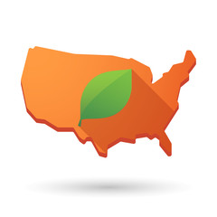 USA map icon with a leaf