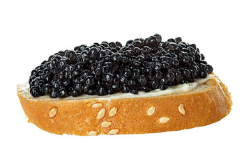 Black caviar served on bread isolated