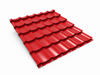 Red metal tile sheet isolated on white background.
