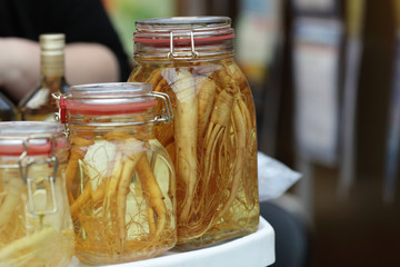 Jar with ginseng root