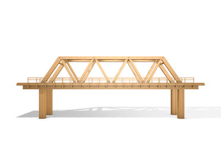 3d Rendered Yellow Truss Bridge Isolated on White (Series)