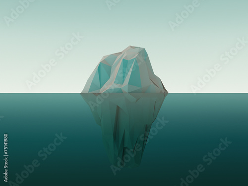 Leinwanddruck Bild 3d Rendered Iceberg In Water