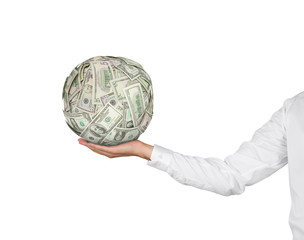 hand holding moneyball