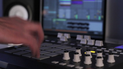 DJ using his Drum Machine