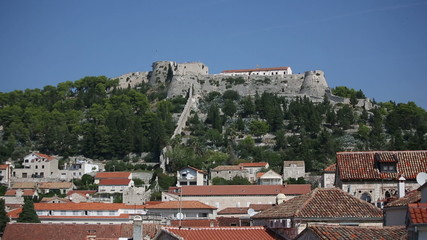 Ancient fortress at Hvar island over town citadel