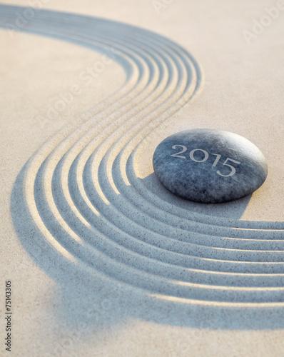 Leinwanddruck Bild Stein und Wellen im Sand 2015