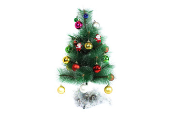 Santa Claus with Christmas tree. Isolated object on white backgr