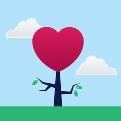 Tree with large heart shape