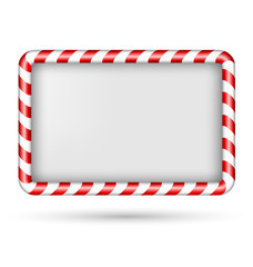 Blank candy cane frame isolated on white background