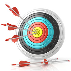 Archery target with red arrows in the center, isolated on white