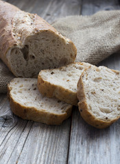 Traditional rye bread slices