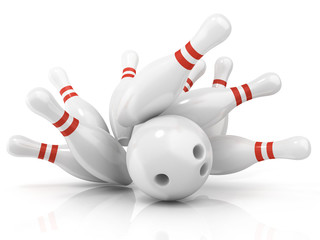 Bowling ball and scattered pin, isolated on white background