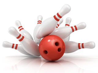 Red bowling ball and scattered pin, isolated on white background