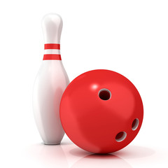 Bowling Ball and pin with red stripes isolated on white