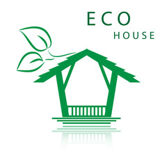 Green house with leaves logo. Eco home. eps10 vector