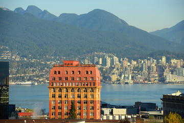 Dominion Building and North Vancouver city skyline