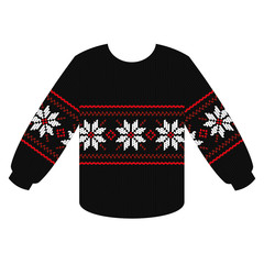 knitting sweater with Christmas star