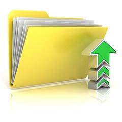 Upload folder icon, isolated on white background