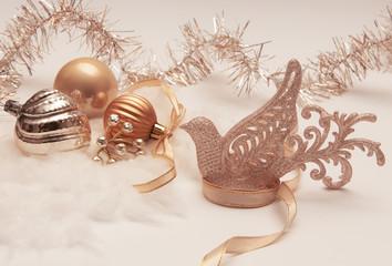 Christmas decoration in golden tones with bird