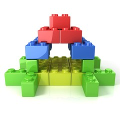 Toy for children, colorful castle construction isolated on white