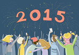 People gathering to celebrate New Year 2015 poster