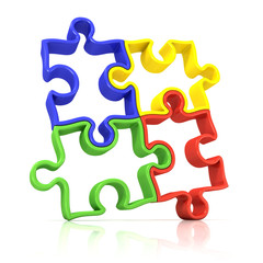 Four colorful outlined jigsaw puzzle pieces, banded. Isolated
