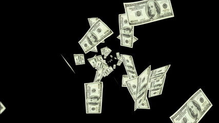 Dollar bills falling over black background