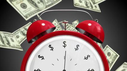 Dollar bills falling with alarm clock
