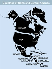 North and Central America Countries vector map