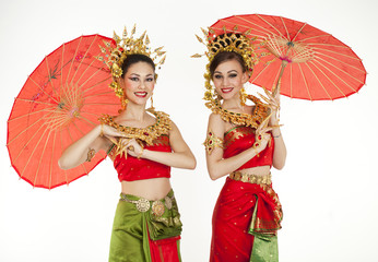 Thai girls dressing with traditional style, Isolated on white