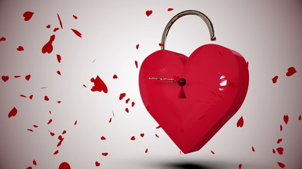 Key opening a heart lock with valentines message