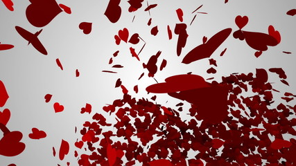 Red hearts falling on white surface